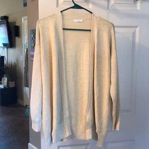 Light mustard long-sleeve soft cardigan